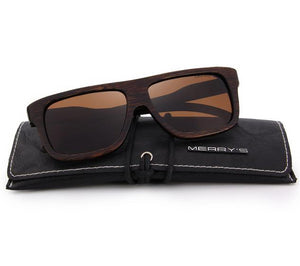 Handcrafted brown wooden sunglasses for men