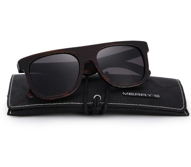 Black sunglasses made from wood