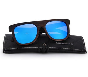Blue men's sunglasses made from wood