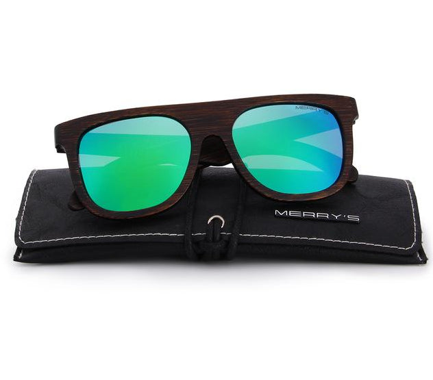 Men's green sunglasses made from wood