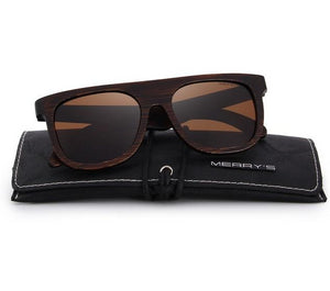 Brown sunglasses made from wood
