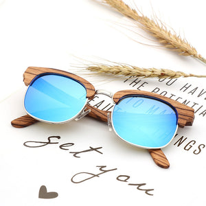 2019 New Vintage Zebra Wood Sunglasses Men Travel Polarized Half-frame Sun glasses UV400