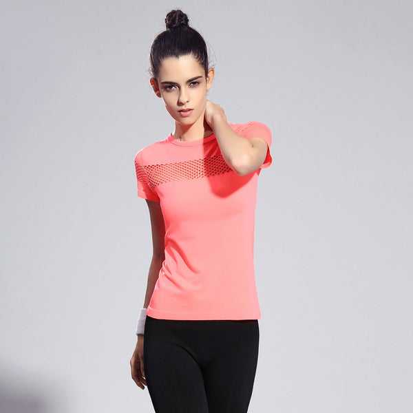 Women's Mesh Short-Sleeve Fitness Top - yogaafford