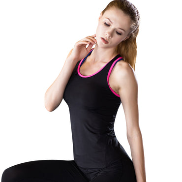 2017 YD Hot Yoga Shirt Sport Running Vest Women Compression Base Layer Dry Fit Tank Top With Fluorescence stripe GYM Clothing - yogaafford