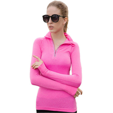 Yoga Shirts Fitness Women Sports Yoga Top Long Sleeve Half Zipper Running Lady Sportswear Workout Quick Dry Tops Gym T-Shirts - yogaafford