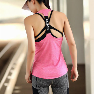 JUST DO IT Professional Yoga Top Vest Solid Color Quick Drying Sport Shirt Women Running Gym Sport Jerseys Fitness Gym Tank Top - yogaafford