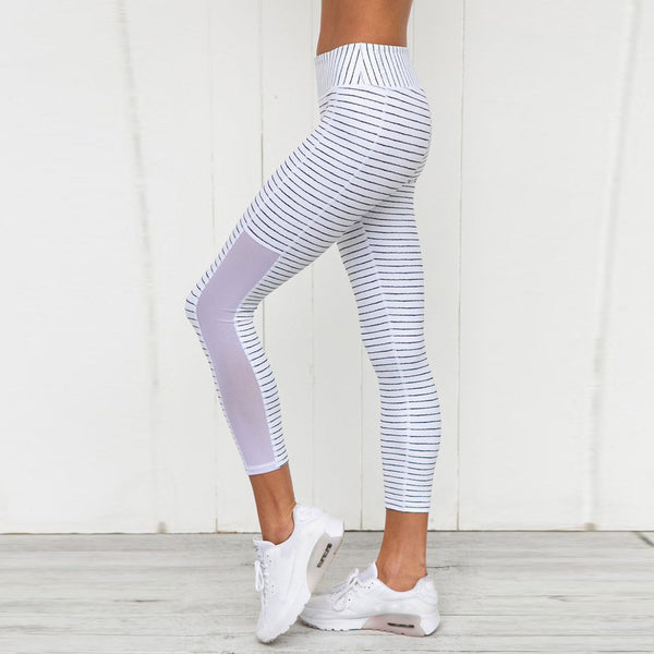 Women's Stripe Print Yoga Leggings - yogaafford