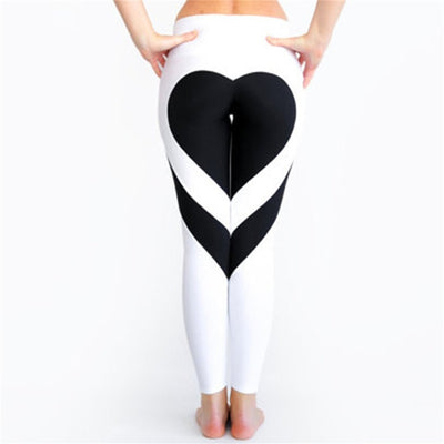 Hot! Heart Shape Leggings Women New Red Black White Color Patchwork Print Leggins Big Size High Elasticity Fitness Leggings S-XL