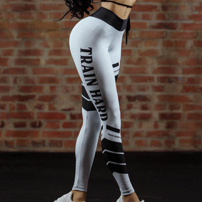 Yoga Leggings Mesh Pattern Print Leggings Fitness Leggings Sports Leggings Workout Leggins Elastic Slim Black White Pants