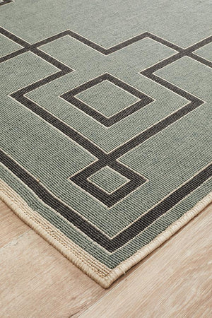 Alfresco Indoor Outdoor Collection 6507 Teal Rug