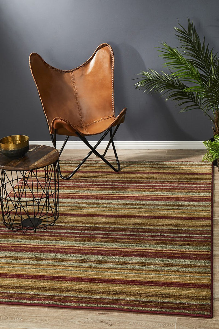 Byblos Rustic Stripe Stripped Red Rug