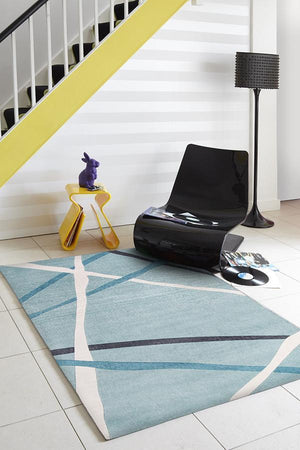 City Abstract Lines Rug Blue