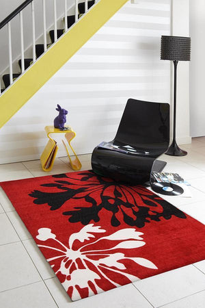 City Agapanthus Bud Print Rug Red Black