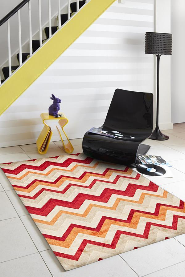 City Stunning Chevron Design Rug Rust Red