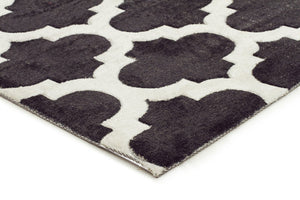 City Trellis Stylish Design Rug Black