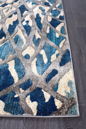 Dreamscape Ropes Modern Blue Runner Rug