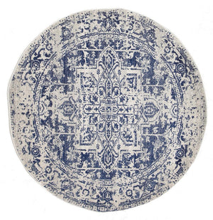 Evoke Horizon White Navy Transitional Round Rug