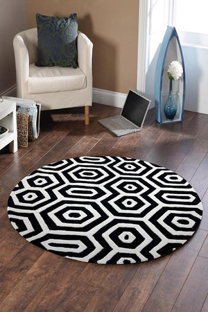 Gold Collection 624 Black & White Round Rug