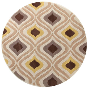 Gold Collection 629 Brown & Gold Round Rug