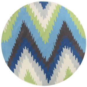 Gold Collection 630 Blue & Green Round Rug