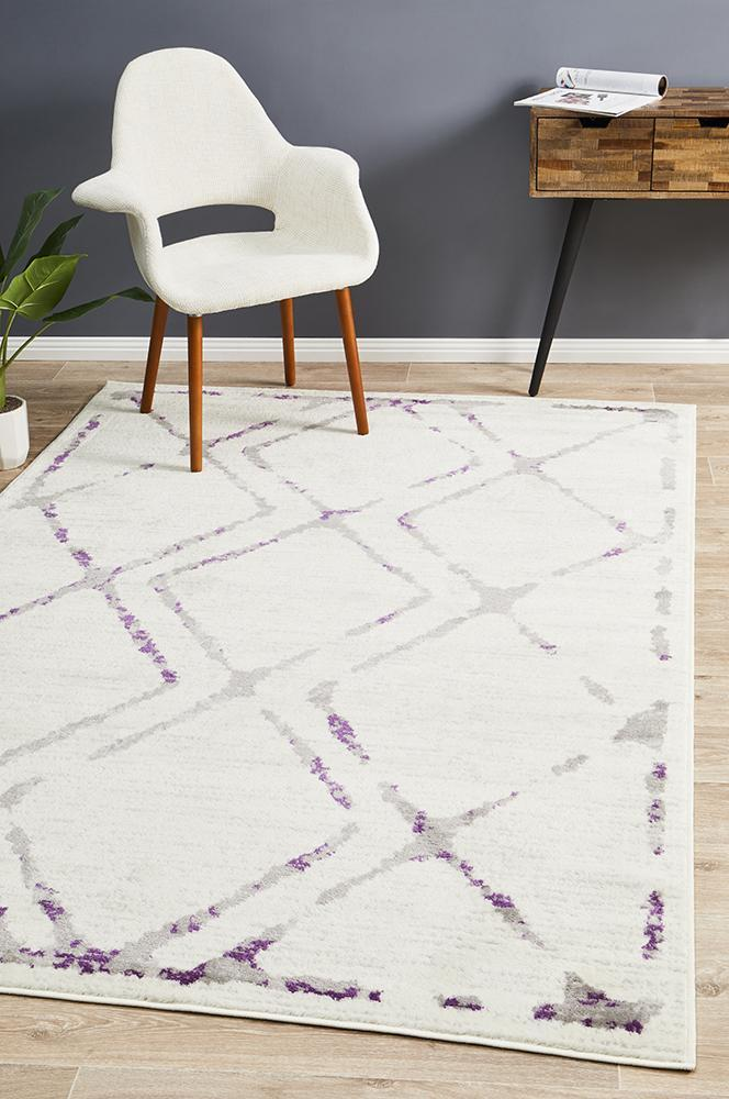 Kendall Contemporary Diamond Rug White Purple Grey