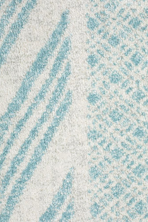 Mirage Adani Modern Tribal Design Sky Blue Round Rug