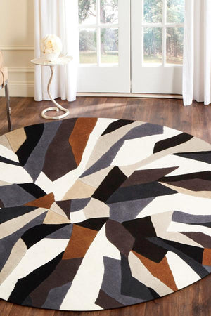 Matrix Pure Wool Fossil Round Rug