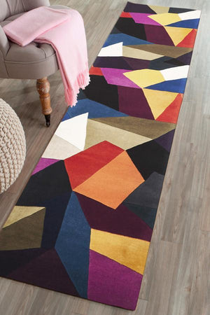 Matrix Pure Wool Crayon Runner Rug