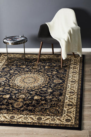Sydney Collection Medallion Rug Blue With Ivory Border