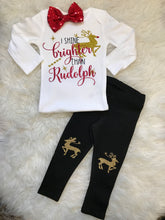 Load image into Gallery viewer, Girls Christmas 3 pc outfit- Shine brighter than Rudolph