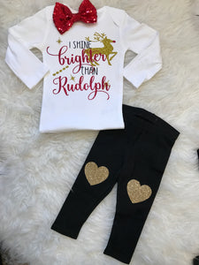 Girls Christmas 3 pc outfit- Shine brighter than Rudolph