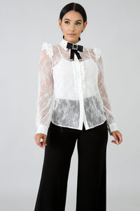 Lace Sheer Brocade Top
