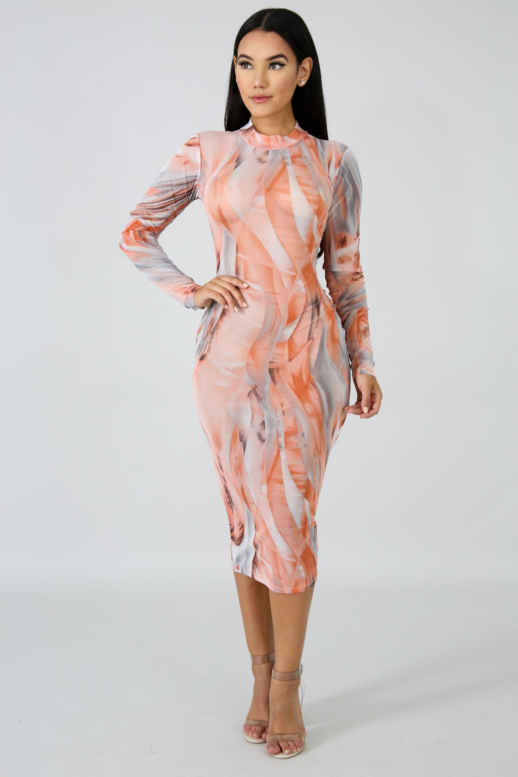 Sheer Peachy Body-Con Dress