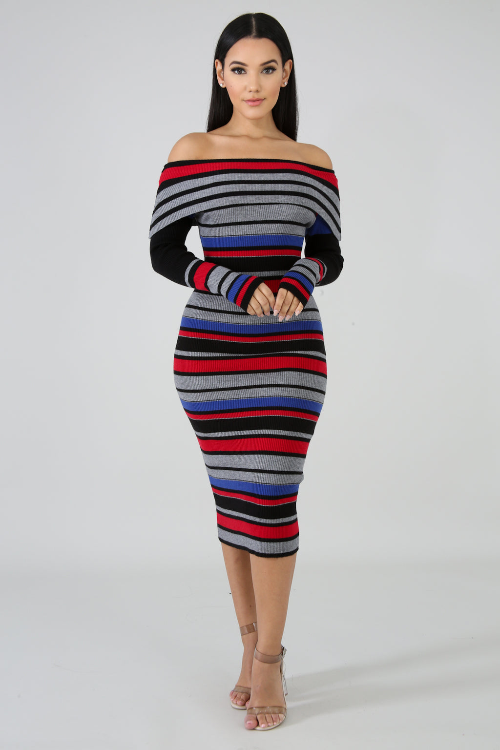 Knit Stripe Midi Dress