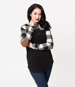 Retro Style Black & White Buffalo Plaid Knit Sleeved Top