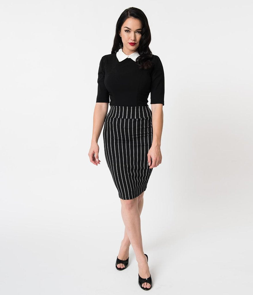 Black & White Pinstripe Stretch Crepe High Waist Wiggle Skirt
