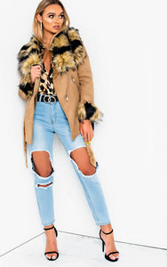 Amber Faux Fur Collar Jacket in Camel