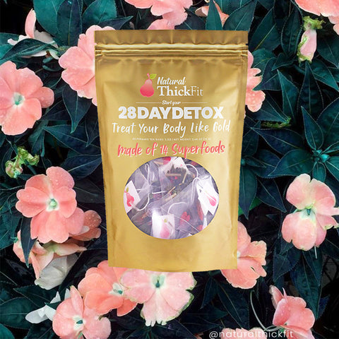 Natural ThickFit Detox Superfood weight loss tea cleanse for curvy women. Is effortless and non-diet just a healthier lifestyle. All Natural, Superfood, non-gmo- non- laxative, vegan, dairy free, gluten free, soy free. With these super ingredients will naturally help you burn fat, get a flat belly, reduce bloating, increase energy, release toxins, boost immune system, reduce stress, improves focus, nourish skin glow. We support selflove, no more body shamming and more mind and body positive.