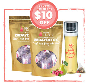 3- The Habit Kit: 60 Days -(2) Natural ThickFit 28 Days Superfood Detox Tea & Curvy Detox Bottle