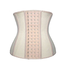 Load image into Gallery viewer, Nude Latex Waist Trainer for Women Weight Loss Latex Corset Cincher Slimming Hourglass Body Shaper 4 Hooks- Faja Colombiana -from your waistline;Flattens belly and bulges, Postpartum, mom pouch, stress hormone belly, belly mom;Supports back to help correct your posture your body into an hourglass figure;Stimulates thermal activity in your core;Increases your perspiration during exercise, sports, walks, runs, and at-home physical activity
