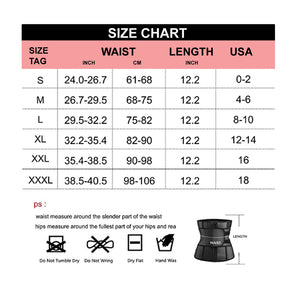 Sweat Waist Trainer Corset Trimmer Belt for Women Weight Loss, Waist Cincher Shaper Slimmer size chart waist length USA Inch cm