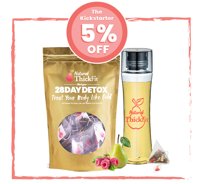 1- The KickStarter Kit: Natural ThickFit 28 Days Superfood Detox Tea & Curvy Detox Bottle Bundle