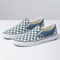 VANS Slip-On Checkerboard Blue Mirage White Shoes