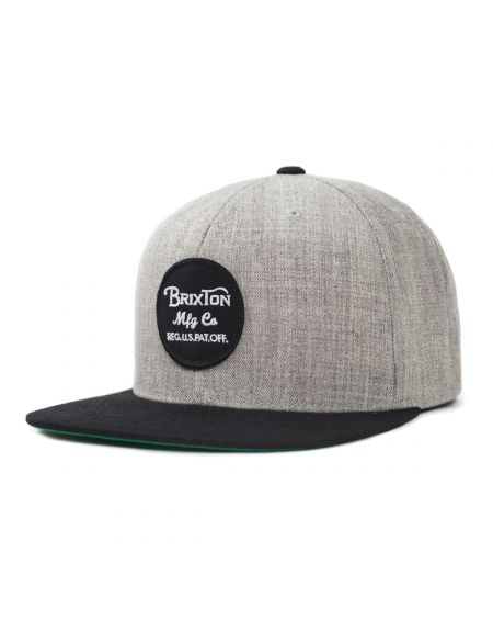 BRIXTON Wheeler Light Heather Grey Black Snapback Hat