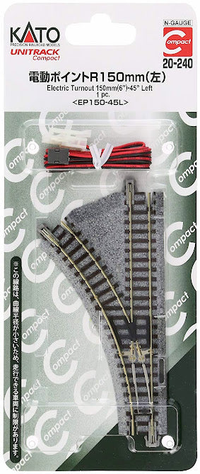 Kato 20-240 UNITRACK Compact Electric Turnout 150mm 45 Left N Scale