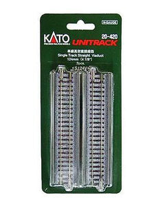 "Kato 20-420 124mm 4 7/8"" Single Track Straight Viaduct Track N Scale"