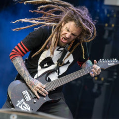 Brian Welch with 7 string electric guitar