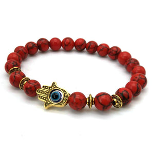 Natural Red Stone with Fatima Hamsa Hand Blue Eyes Amulet Bracelet