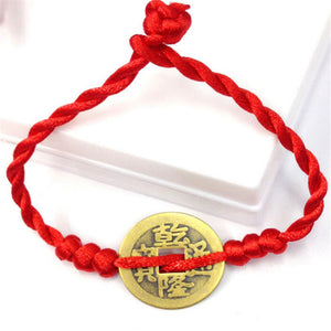 Get 2 in price of 1 Chinese Red String Lucky Coin Charm Bracelet for Wealth and GoodLuck