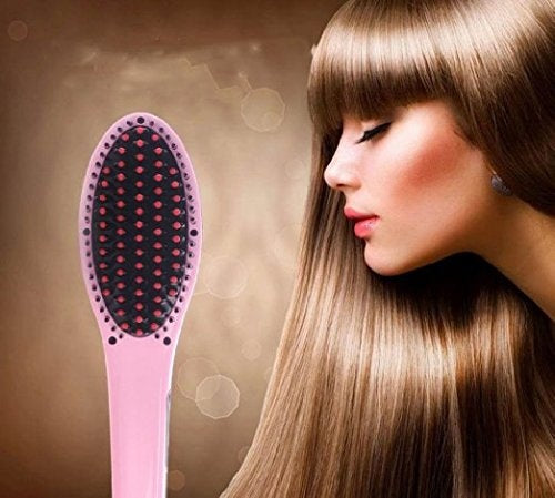 Ceramic Straightening Brush with LCD Display